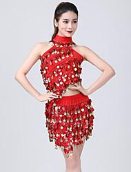 cheap -Belly Dance Skirts Glitter Gold Coin Split Joint Women's Training Performance Sleeveless Natural Sequined Milk Fiber