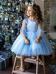 cheap -Princess / Ball Gown Knee Length Wedding / Party Flower Girl Dresses - Tulle Long Sleeve Jewel Neck with Appliques