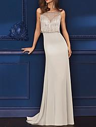 cheap -Sheath / Column Glittering Sexy Engagement Formal Evening Dress Illusion Neck Sleeveless Sweep / Brush Train Italy Satin with Tassel 2021