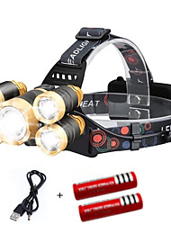 cheap -Headlamps Cap Lights Headlight 2000 lm LED 5 Emitters 4 Mode with Batteries and USB Cable Portable Windproof Cool Easy Carrying Wearproof Camping / Hiking / Caving Diving / Boating Cycling / Bike