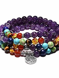 cheap -8mm Amazonite Crystal Chakra Bracelet 108 Mala Prayer Beads Beaded Tree of Life Bracelets Necklace for Men Women 005