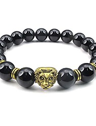 cheap -Onyx Agate Mens Bracelet, 10mm Natural Energy Gemstone Beads Bangle, Lion Charm, Black Gold