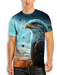 cheap -Men's T shirt 3D Print Graphic Animal Print Short Sleeve Daily Tops Basic Casual Blue