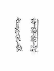 cheap -women's silver crawler earrings: leaf climbers with cz
