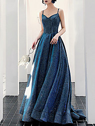 cheap -A-Line Sparkle Sexy Prom Formal Evening Dress Spaghetti Strap Sleeveless Court Train Sequined with Pleats Sequin 2021
