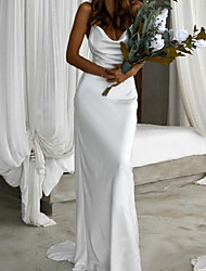 cheap -Sheath / Column Wedding Dresses V Neck Sweep / Brush Train Charmeuse Sleeveless Simple with 2021