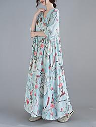 cheap -Women's Swing Dress Maxi long Dress 3/4 Length Sleeve Floral Spring Summer Casual 2021 Blushing Pink Light Blue M L XL XXL
