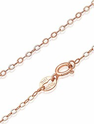 cheap -Rose Gold Flashed Sterling Silver 1mm Thin Delicate Flat Cable Chain Necklace, Size 18 inch