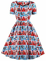 cheap -merry christmas!!!women dress vintage holiday christmas print princess a-line dress ladies cocktail loose casual evening party gowm swing dresses