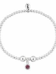 cheap -Brand Sterling Silver Beaded Birthstone Bracelet for July Ruby CZ