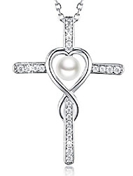 cheap -jewelry gifts for her white pearl pendant necklace sterling silver love heart jewelry for women