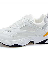 cheap -Women's Trainers Athletic Shoes Flat Heel Round Toe Sporty Casual Dad Shoes Athletic Outdoor Running Shoes Walking Shoes PU Lace-up Color Block White Gray