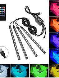 cheap -Car LED Strip Lights 4pcs 48 USB LED Interior Lights Multicolor Music Car Strip Light Under Dash Lighting Kit with Sound Active Function and Remote Controller DC 5V Remote Voice Controlled Rhythm Lamp
