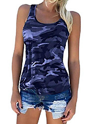 cheap -Women's Yoga T Shirt Camo Print Running Hiking Tank Tops Soft Comfy Cotton T Shirts Cool Cute Sleeveless Tee Tops Girls Round Neck Daily Wear Tanks Tops Navy XL