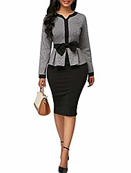 cheap -women elegant colorblock long sleeve bow high waist bodycon midi dress black m