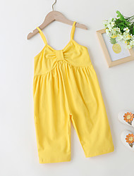 cheap -Kids Toddler Little Girls' Sundress Rabbit Solid Colored Backless Yellow Above Knee Sleeveless Active Cute Dresses Loose