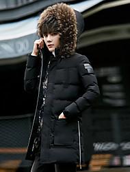 cheap -Men's Winter Coat Parka Causal Solid Color Polyester Black M / L / XL