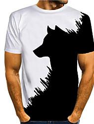 cheap -Men's T shirt 3D Print Graphic 3D Animal Print Short Sleeve Casual Tops Simple Classic 1# 2# Black / White