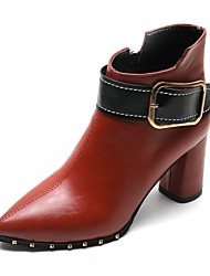 cheap -Women's Boots Chunky Heel Pointed Toe Booties Ankle Boots Daily Walking Shoes PU Rivet Buckle Color Block Wine Dark Brown Black / Booties / Ankle Boots