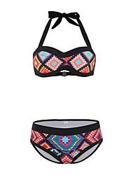 cheap -Women's New Cute Sweet Tankini Swimsuit Color Block 3D Strappy Open Back Print Padded Normal Strap Swimwear Bathing Suits Black / Bikini / 2 Piece / Tattoo