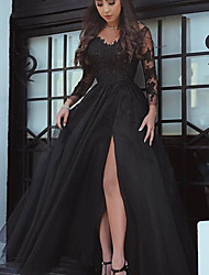 cheap -A-Line Sexy Floral Wedding Guest Formal Evening Dress V Neck Long Sleeve Floor Length Lace Tulle with Split Lace Insert 2021