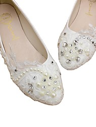 cheap -Women's Wedding Shoes Flat Heel Round Toe Wedding Flats Wedding Walking Shoes PU Rhinestone Pearl Lace Floral Flat bottom [2020 version standard code] 3 cm heel [standard size] 5 cm heel [standard