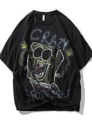 cheap -Men's T shirt Other Prints Graphic Prints Graffiti Print Short Sleeve Daily Tops 100% Cotton Casual Beach Black