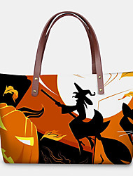 cheap -women pu leather neoprene halloween style pumpkin skull festival pattern large capacity mom bag student bag shoulder bag handbag
