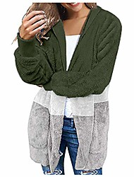 cheap -Womens Hooded Cardigans Coats Long Sleeve Casual Oversized Faux Fur Fuzzy Open Front Hoodies Outerwear with Leopard Pockets