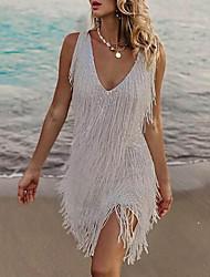 cheap -Women's Sheath Dress Short Mini Dress - Sleeveless Solid Color Tassel Fringe Plus High Low Spring Fall Hot Elegant 2021 White S M L XL XXL