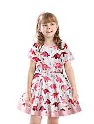 cheap -Kids Little Girls' Dress Dinosaur Animal Print Blushing Pink Above Knee Short Sleeve Active Sweet Dresses Regular Fit