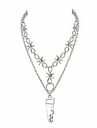 cheap -Punk Gothic Barbed Wire Necklace Unisex Chic Hand Saw Pendant Alloy Barb Thorns Chain Choker Set Women Men Grunge Long Chain Necklace E-boy Chains (Style 2 Silver)