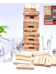 cheap -Tumbling Tower Drinking Game Drinking Game with 4 Glasses and 60 Wooden Blocks with Challenges Fun House Party Games for Game Night Great Gift Idea