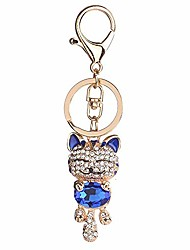 cheap -bling bling crystal rhinestone lovely animal cute fortune cat car bag pendant keyring keychains (blue)