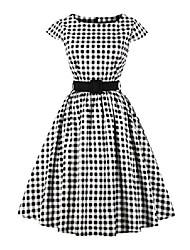 cheap -® women's polka dot hepburn 1950s vintage swing rockabilly pinup ball gown retro tea cocktail party dress white s