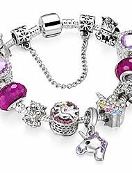 cheap -Silver Tone European Charm Bracelet Blue Murano Glass Beads Rose Flower Charms Birthstone Crystal Beads (Friendship Bracelet)