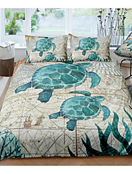 cheap -3d sea turtle print 3-piece duvet cover set hotel bedding sets comforter cover with soft lightweight microfiber, include 1 duvet cover, 2 pillowcases for double/queen/king(1 pillowcase for