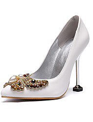 cheap -Women's Wedding Shoes Stiletto Heel Pointed Toe Wedding Pumps Business Sexy Minimalism Wedding Party & Evening PU Rhinestone Bowknot Sparkling Glitter Solid Colored White