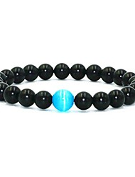 cheap -blue cat's eye beads glossy agate beads elastic energy bracelet for mens (glossy agate beads) 8 inches