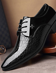 cheap -Men's Oxfords Business Wedding Party Dress Shoes PU Leather Pointed Toe Loafers Breathable Non-slipping Height-increasing Black Fall Spring