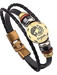 cheap -handmade cowhide alloy zodiac sign pisces bracelet leather ornaments for women men girls boys