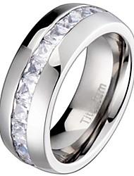 cheap -Titanium Men's Wedding Band Engagement Ring with 11 Large Princess Cut Cubic Zirconia Size 9.5 SPJ