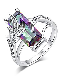 cheap -rainbow topaz rings for woemen 18k white gold plated jewelry gifts zircon ring size 6
