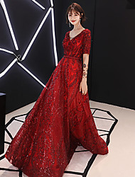 cheap -A-Line Sparkle Engagement Formal Evening Dress V Neck Half Sleeve Floor Length Satin Sequined with Beading Sequin 2021