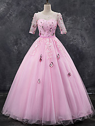 cheap -Ball Gown Elegant Floral Quinceanera Formal Evening Dress Illusion Neck Half Sleeve Floor Length Tulle with Pleats Appliques 2021