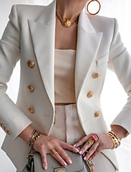 cheap -women open front formal jacket suit long sleeve lightweight office work blazer with buttons white