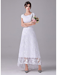 cheap -A-Line Wedding Dresses Scoop Neck Asymmetrical Lace Cap Sleeve Romantic Plus Size with 2021