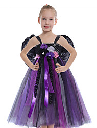 cheap -Cosplay Witch Maleficent Outfits Masquerade Girls' Movie Cosplay Vacation Halloween Black Dress Wings Halloween Carnival Masquerade Polyester