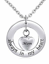 cheap -Mum Mom Cremation Urn Pendant Necklace for Ashes Always in My Heart Memorial Keepsakes