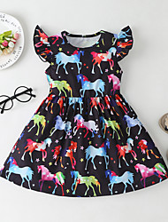 cheap -Kids Little Girls' Dress Fantastic Beasts Cartoon Animal Ruffle Black Above Knee Short Sleeve Sweet Boho Dresses Regular Fit